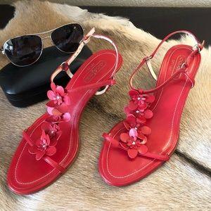 Coach Kelly Red Kitten Heel Sandals